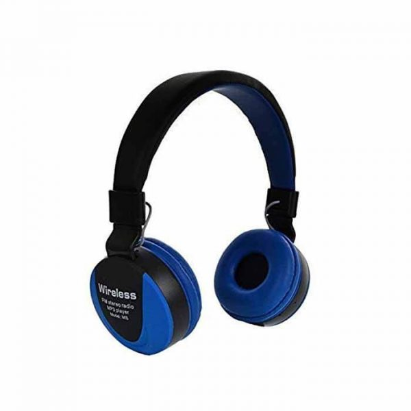 On Ear MS 771 Foldable Wireless Headphone With Mic & Bass Sound Blue