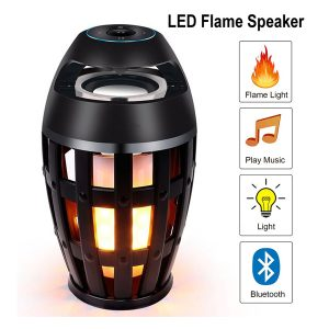Led Flame Atmosphere Speaker Bluetooth Portable Speaker Black