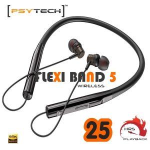 PSYTECH flexiband Sports Bluetooth Wireless Earphone with Immersive 4D Sound Black