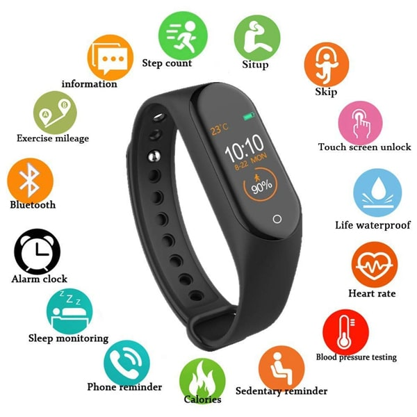 M4 Fitness Band Smart Watch Activity Tracker Heart Rate Sensor
