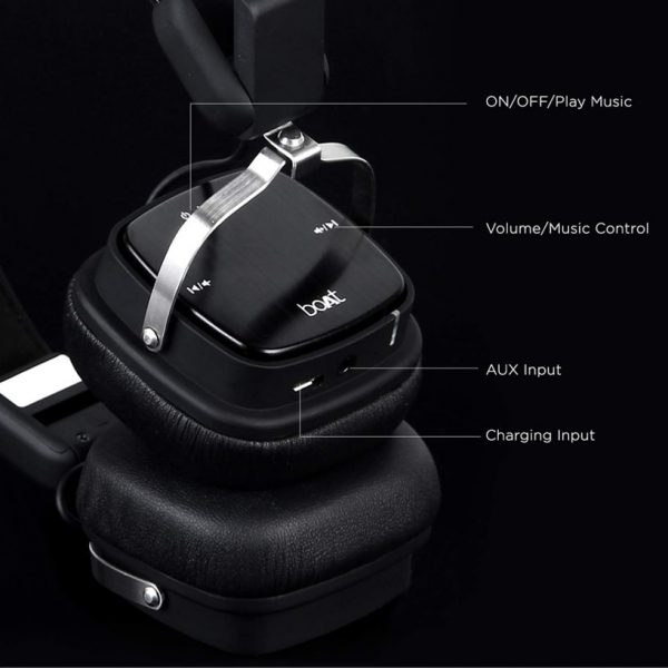 boAt Rockerz 610 Bluetooth Foldable Headphone with Luxurious Sound (Black)