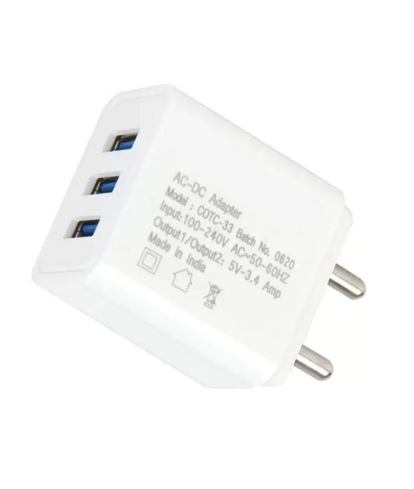 Multiport 3 USB Port Mobile Charger with Detachable Cable VKMS788174