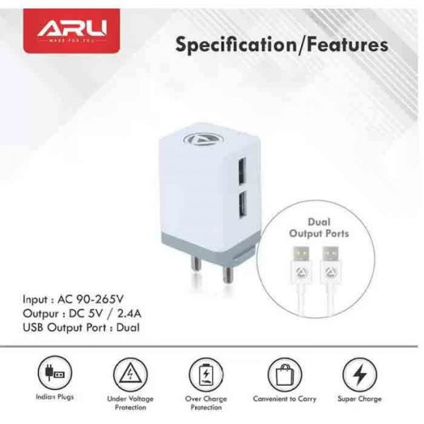 ARU AR-222 Multiport Mobile Charger with Detachable Cable (White, Cable Included)