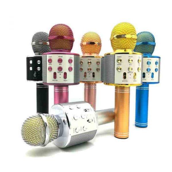 WS 858 Wireless Handheld Bluetooth Mic With Inbuilt Speaker Karaoke Mic