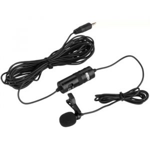 BOYA By-m1 3.5mm Electret Condenser Microphone with 14 Adapter for Smartphones, Dslr, Camcorders Microphone.