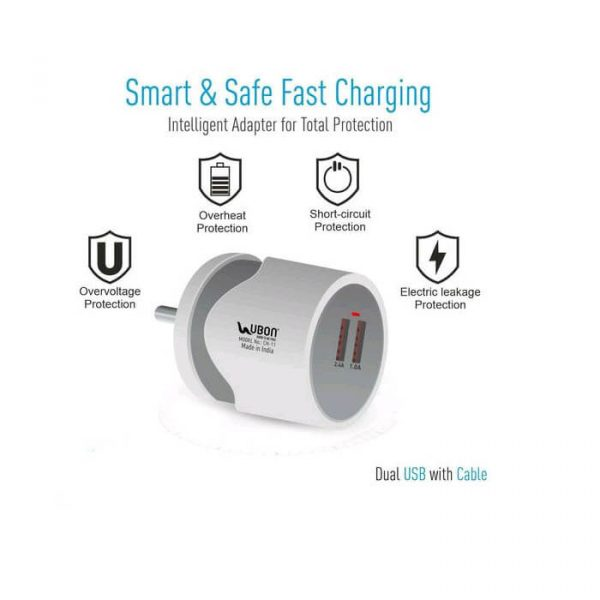 UBON CH-11 Power Hub Wall Charger 12W Dual USB Port With Fast Charging Data Cable _