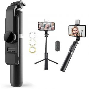 Bluetooth Extendable Selfie Stick With Led Light Wireless Remote For All Iphone And Android Smartphone
